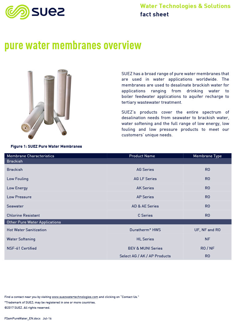 SUEZ Pure Water Membranes List